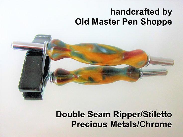 Handmade Precious Metals Seam Ripper/Stiletto with Chrome Plating