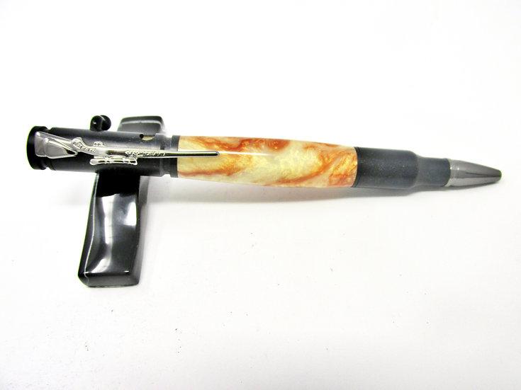Handmade Crushed Mud Bolt Action Ballpoint Pen with Black Chrome/Gun Metal
