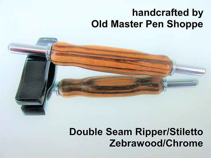 Handmade Zebrawood Double Seam Ripper/Stiletto with Chrome Plating