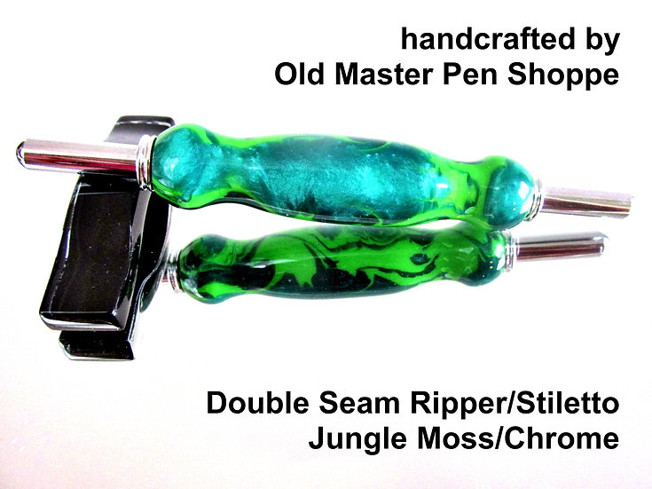 Handmade Jungle Moss Double Seam Ripper/Stiletto with Chrome Plating