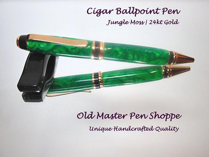 Handmade Jungle Moss Cigar Ballpoint Pen with 24kt Gold Plating