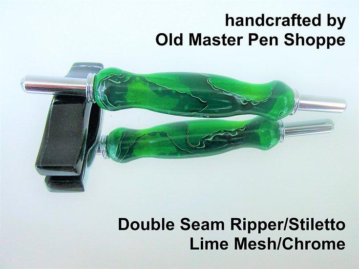 Handmade Lime Mesh Seam Ripper/Stiletto with Chrome Plating