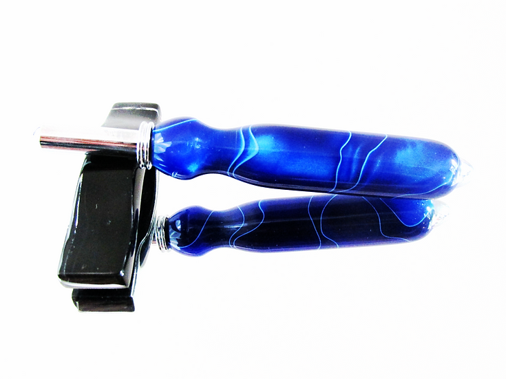 Blue Ripples with Chrome Plating