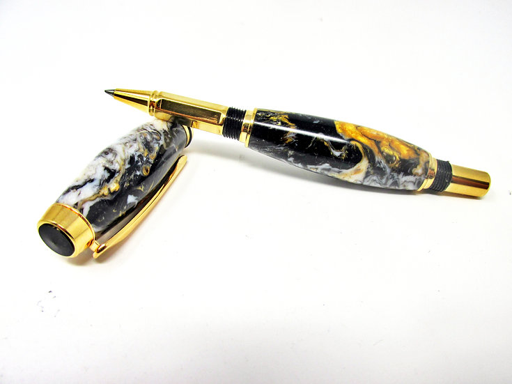 Handmade Renaissance Baron Rollerball Pen with Titanium Gold Plating