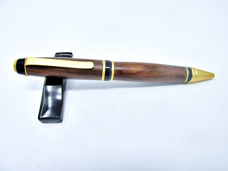 Handmade Bolivian Rosewood Cigar Ballpoint Pen with Satin Gold Plating