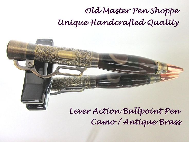 Handmade Camo Acrylic Lever Action Ballpoint Pen with Antique Brass Plating