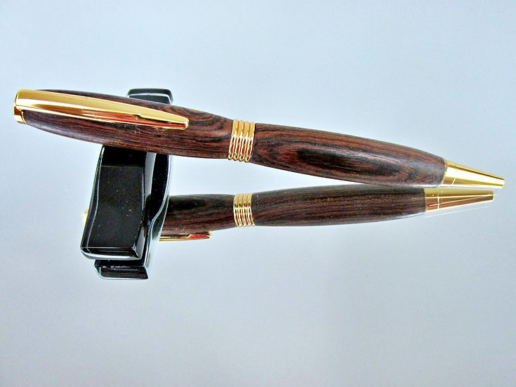 Handmade Bocote Saturn Ballpoint Pen with 24kt Gold Plating