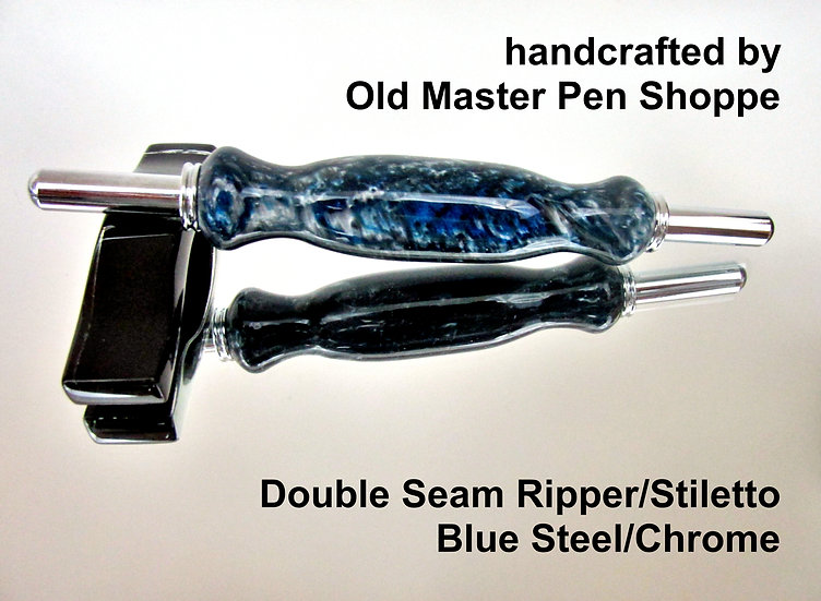 Handmade Blue Steel Double Seam Ripper/Stiletto with Chrome Plating