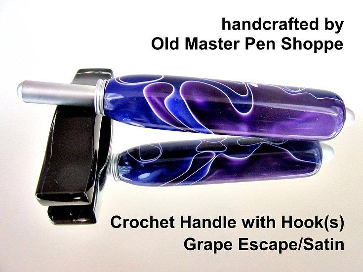 Handmade Grape Escape Crochet Hook with Satin Plating