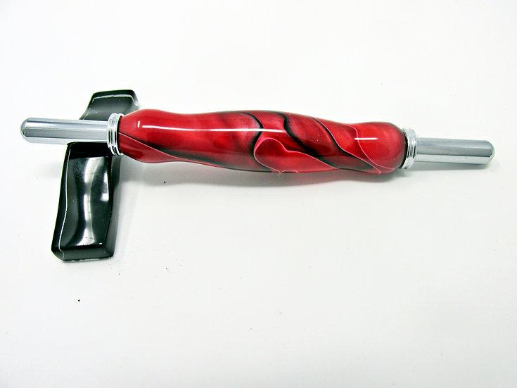 Handmade Raspberry Swirl Double Seam Ripper/Stiletto with Chrome Plating