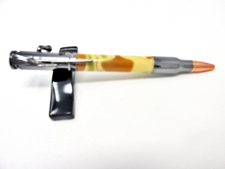 Handmade Desert Camo Bolt Action Ballpoint Pen with Gun Metal Plating