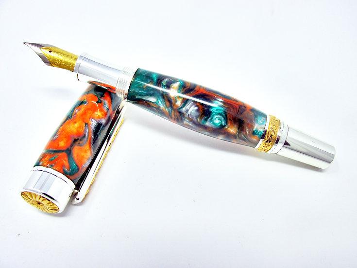 Handmade Cambridge Hybrid Silver Venom Fountain Pen with Titanium Gold/Silver