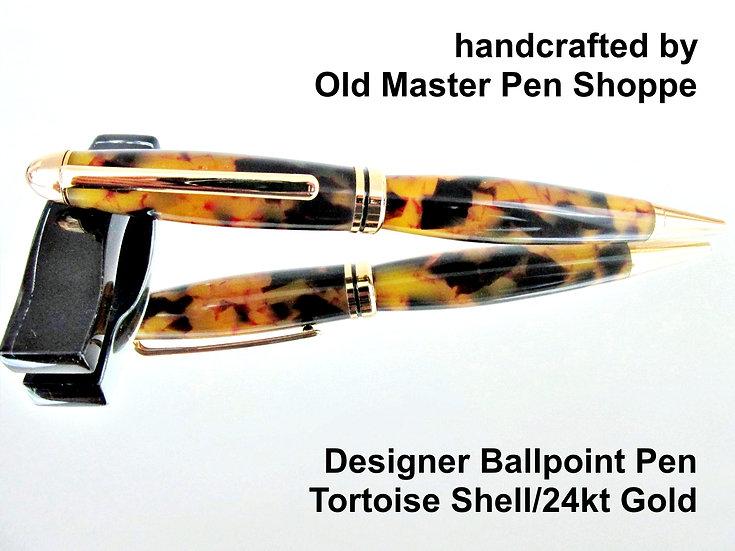 Handmade Tortoise Shell Designer Ballpoint Pen With Chrome Plating