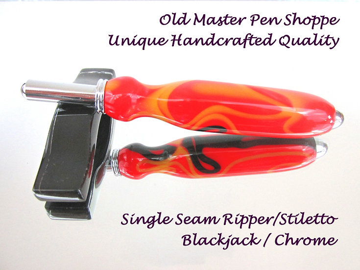 Handmade Blackjack Seam Ripper or Stiletto with Chrome Plating