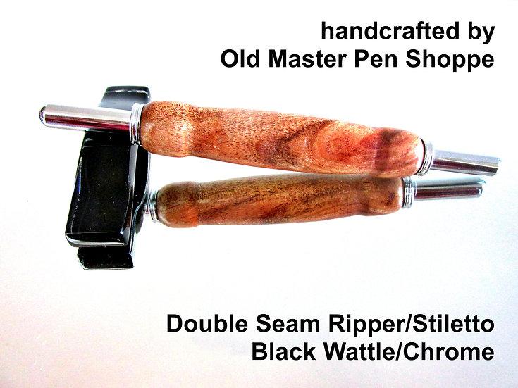 Handmade Black Wattle Double Seam Ripper/Stiletto with Chrome Plating