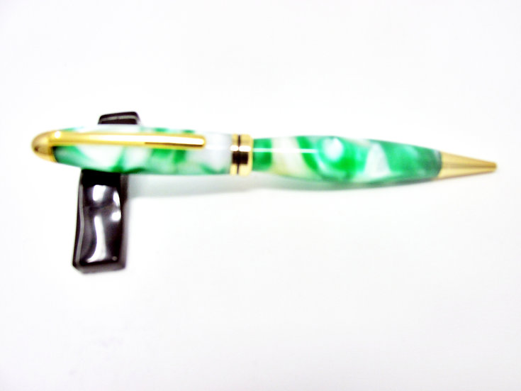Handmade Shamrock Designer Ballpoint Pen With 24kt Gold Plating