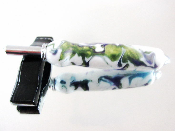 The seam ripper/sewing stiletto is handmade from Wildflower Inlace Acrylester