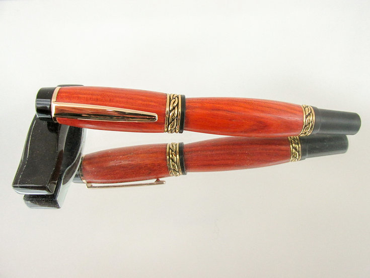 Handmade Olympian Elite Rollerball Pen Bloodwood with 24kt Gold Plating