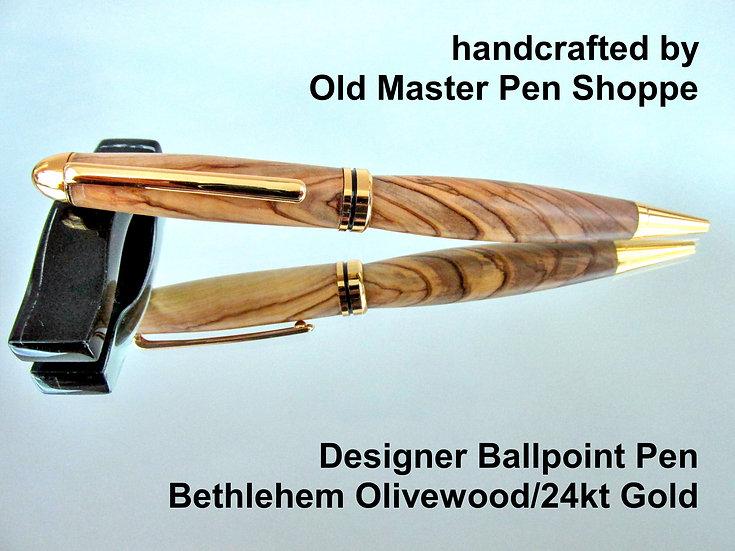 Handmade Bethlehem Olivewood Designer Ballpoint Pen With 24kt Gold Plating