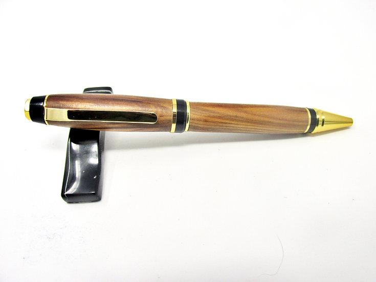 Handmade Satin Walnut Cigar Ballpoint Pen with 24kt Gold Plating