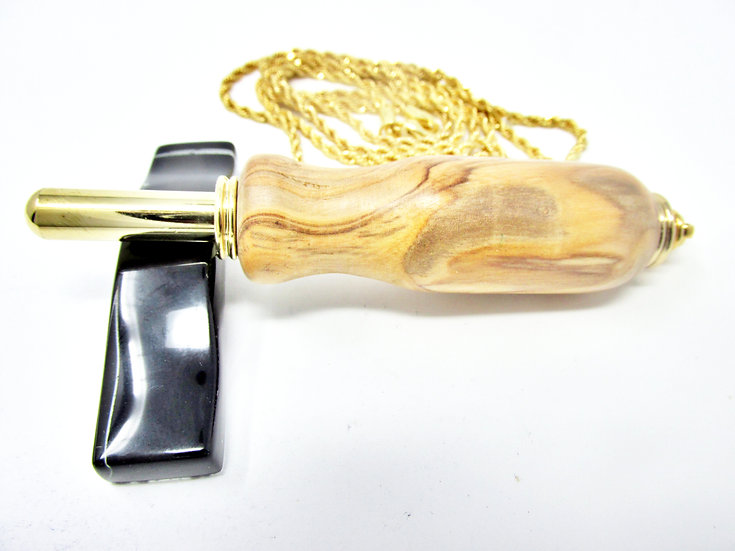 Handmade Marblewood Seam Ripper Necklace with 24kt gold Plating