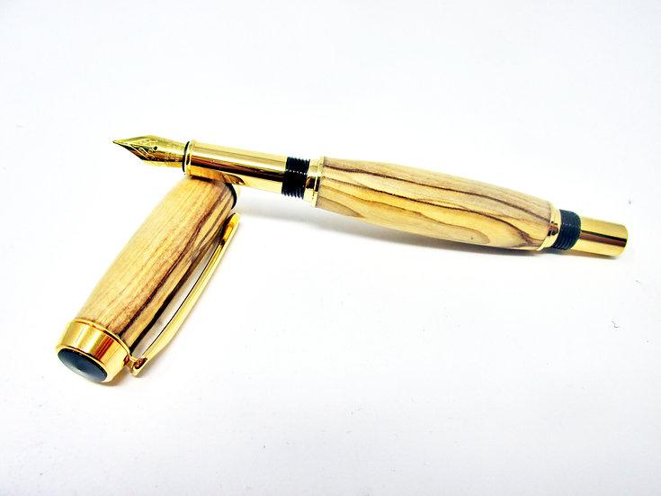Handmade Baron Bethlehem Olivewood Fountain Pen with Titanium Gold Plating