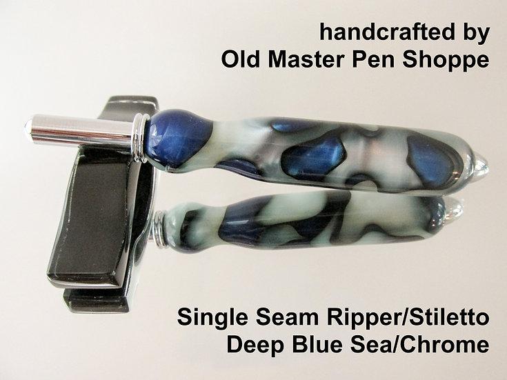 Handmade Deep Blue Sea Seam Ripper or Stiletto with Chrome Plating
