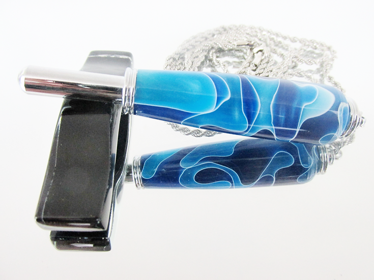 Handmade Blue Ripples Seam Ripper Necklace with Chrome Plating