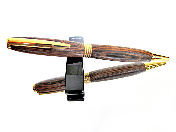 Handmade Bocote Saturn Ballpoint Pen with 24kt Gold Plating