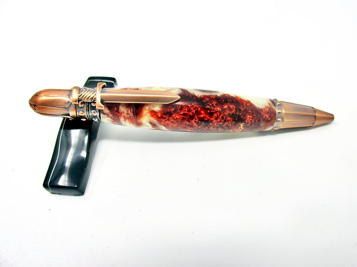 Handmade Knights Armor Copper Swirl Ballpoint Pen with Antique Copper Plating
