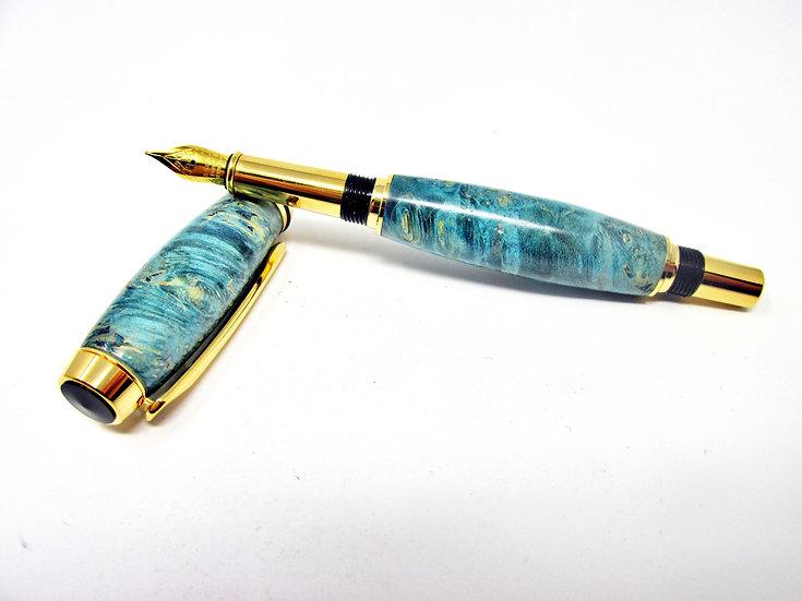 Handmade Turquoise Dyed Box Elder Burl Fountain Pen with Titanium Gold Plating