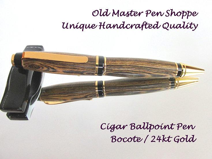 Handmade Bocote Cigar Ballpoint Pen with 24kt Gold Plating
