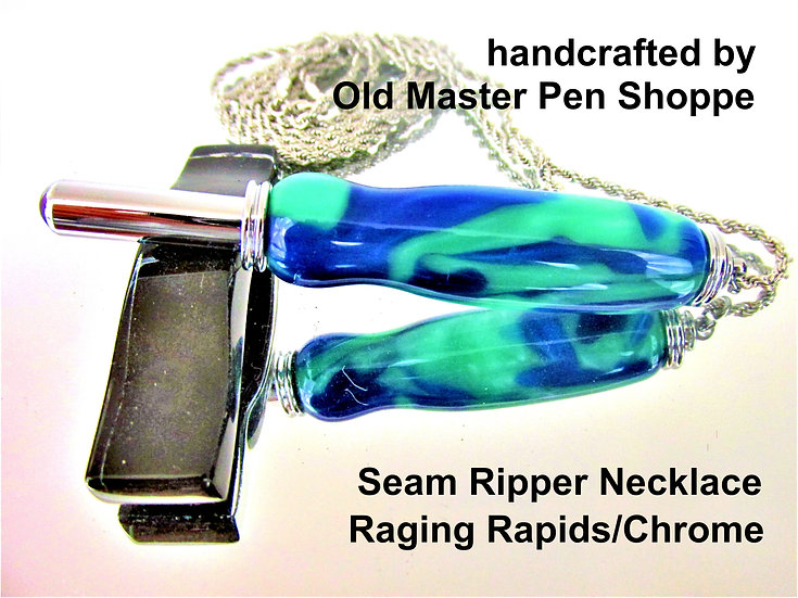 Handmade Raging Rapids Mist Seam Ripper Necklace with Chrome Plating
