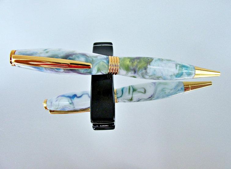 Handmade Wildflower Saturn Ballpoint Pen with 24kt Gold Plating