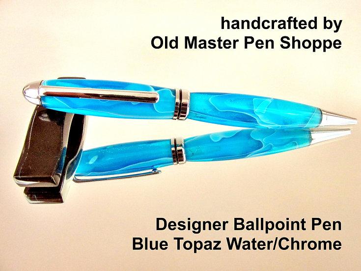 Handmade Blue Topaz Water Designer Ballpoint Pen With Chrome Plating