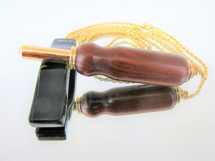 Handmade Bolivian Rosewood Seam Ripper Necklace with 24kt Gold Plating