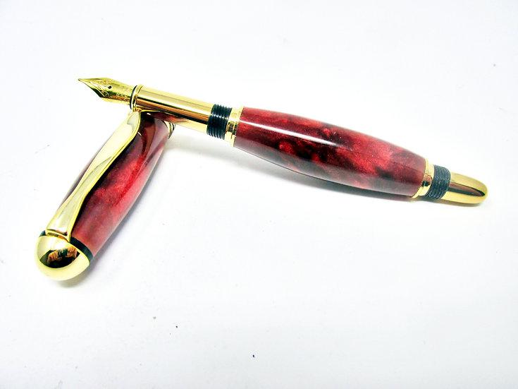 Handmade Sedona Royal Rose Swirl Fountain Pen with 24kt Gold Plating