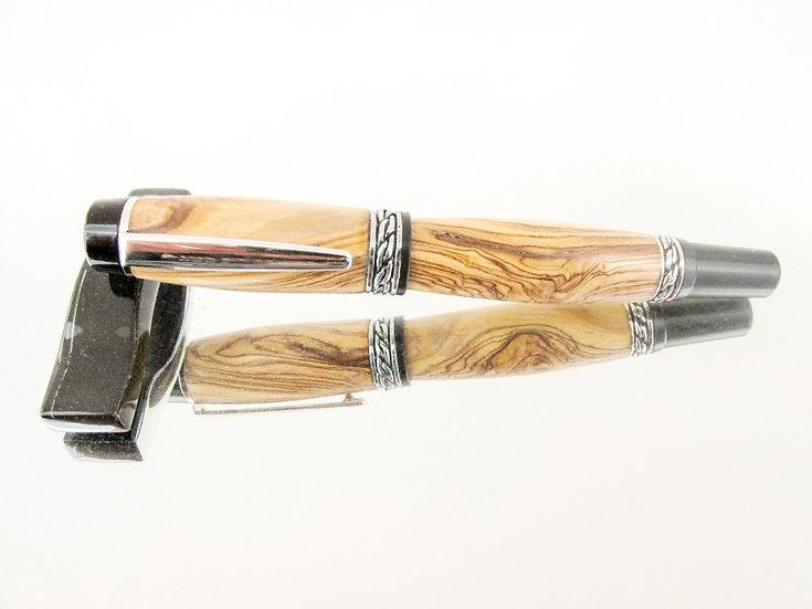 Handmade Olympian Elite Bethlehem Olivewood Fountain Pen with Rhodium Plating