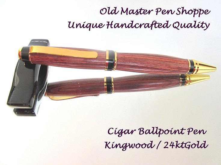 Handmade Kingwood Cigar Ballpoint Pen with 24kt Gold Plating
