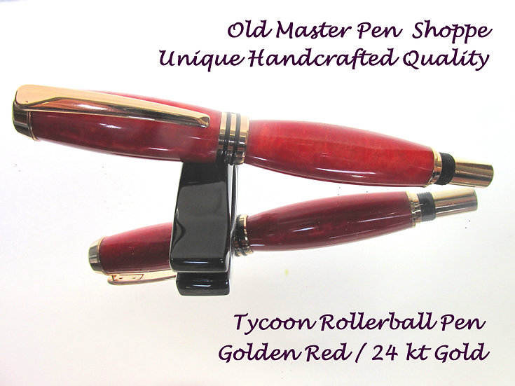 Handmade Tycoon Rollerball Pen Golden Red with 24kt Gold Plating