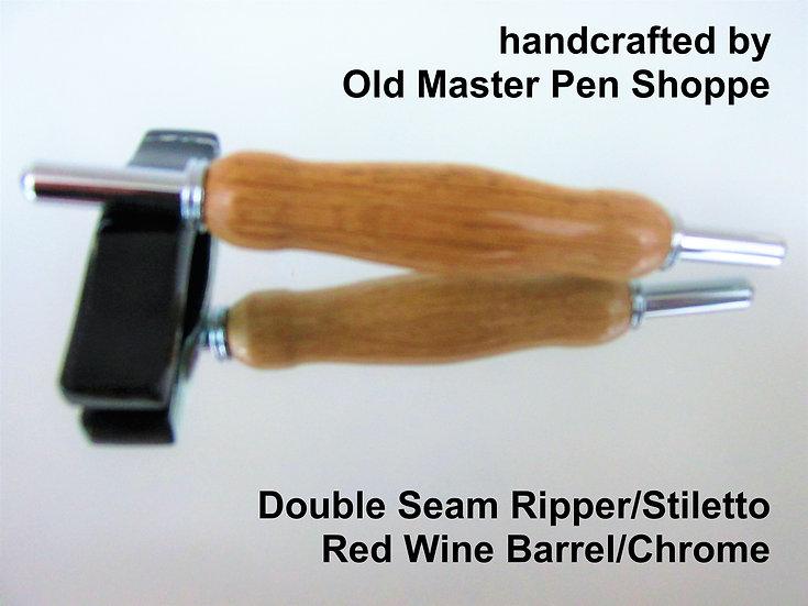 Handmade Red Wine Barrel Stave Seam Ripper/Stiletto with Chrome Plating