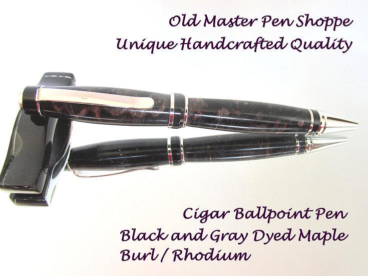 Handmade Black/Gray Maple Burl Cigar Ballpoint Pen with Rhodium Plating
