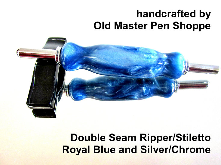 Handmade Royal Blue and Silver Double Seam Ripper/Stiletto with Chrome Plating