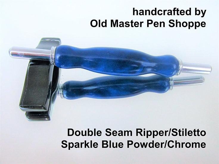 Handmade Sparkle Blue Powder Seam Ripper/Stiletto with Chrome Plating