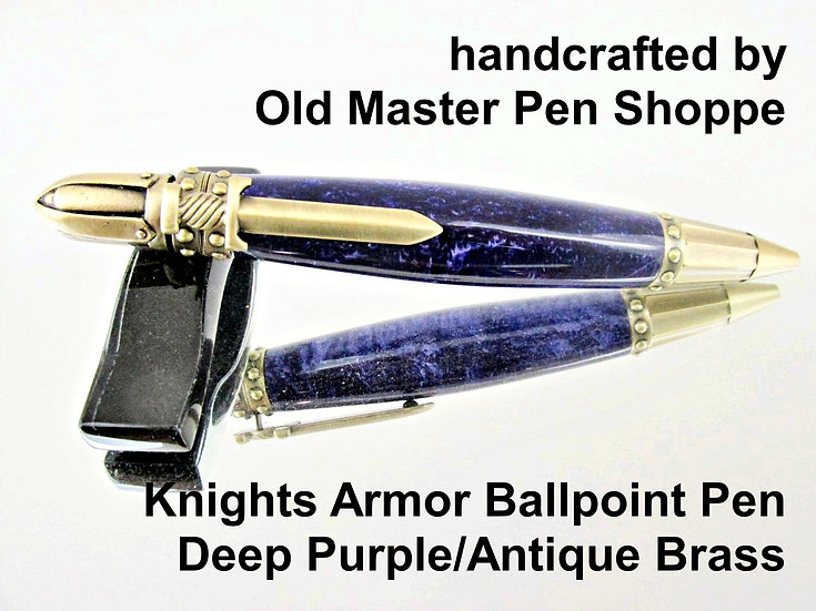 Handmade Knights Armor Deep Purple Ballpoint Pen with Antique Brass Plating