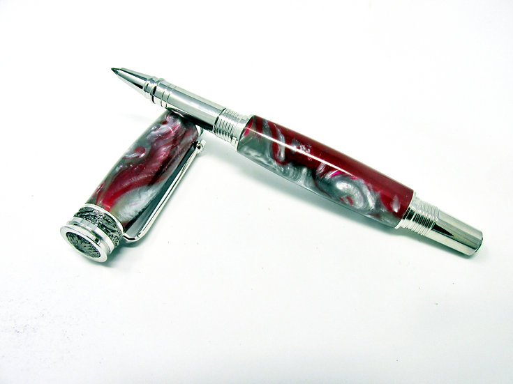 Handmade Majestic Jr Rollerball Pen Crimson/Silver with Rhodium & Black Titanium