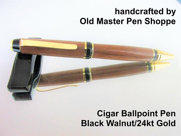 Handmade Black Walnut Cigar Ballpoint Pen with 24kt Gold Plating
