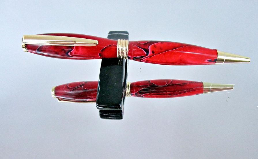 Handmade Strawberry Mesh Saturn Ballpoint Pen with Chrome Plating