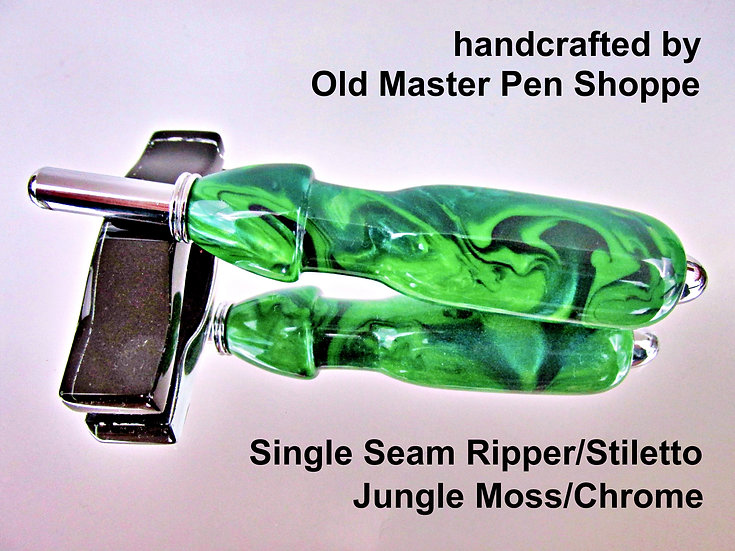 Handmade Jungle Moss Seam Ripper or Stiletto with Chrome Plating