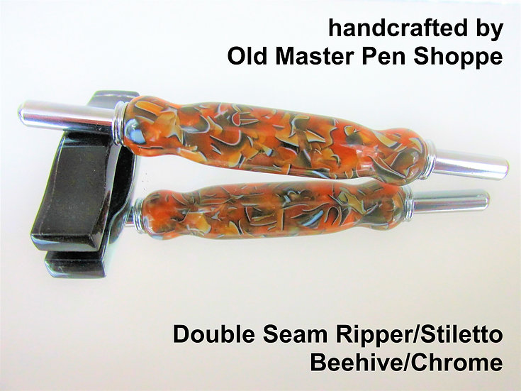 Handmade Bee Hive Double Seam Ripper/Stiletto with Chrome Plating